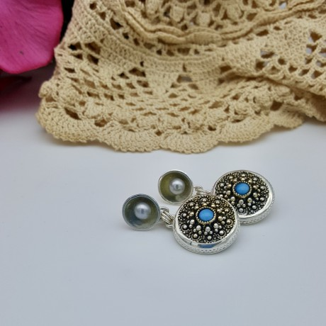 ******SOLD*****Silver and Turquoise Vintage Button Earrings