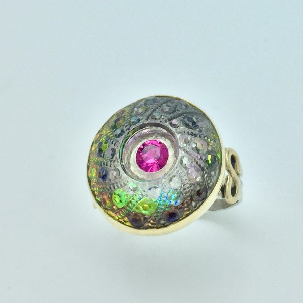 ****SOLD*****Antique Czech Rainbow Glass Button Ring