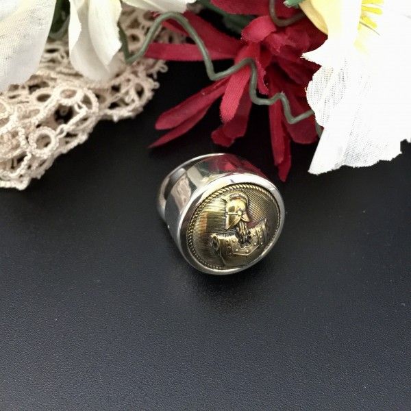 ***SOLD*** Medieval Knights Antique Button Ring